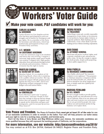 Image of Workers' Voter Guide, front side