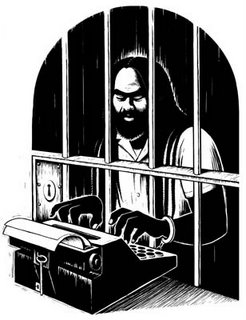 drawing of mumia abu-jamal writing from prison