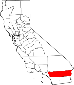 map of california showing riverside county in red